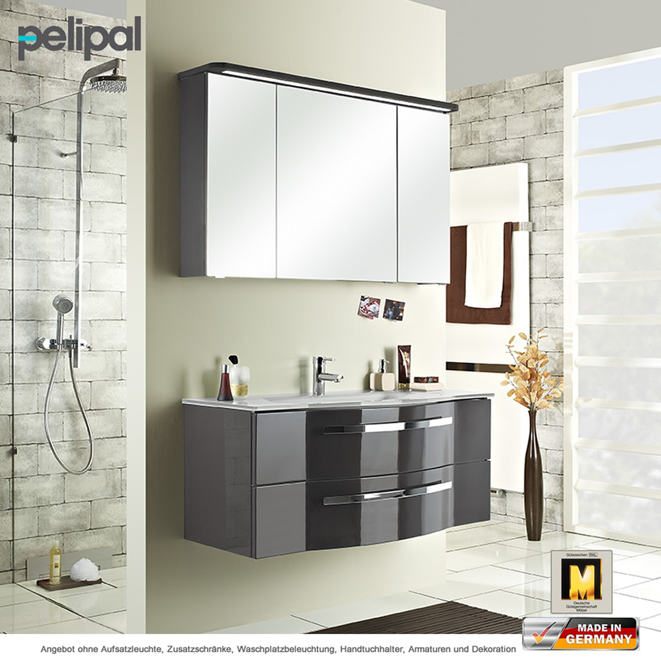 Pelipal Fokus 4005 Badmöbelset 115 cm mit Glaswaschtisch | Impulsbad