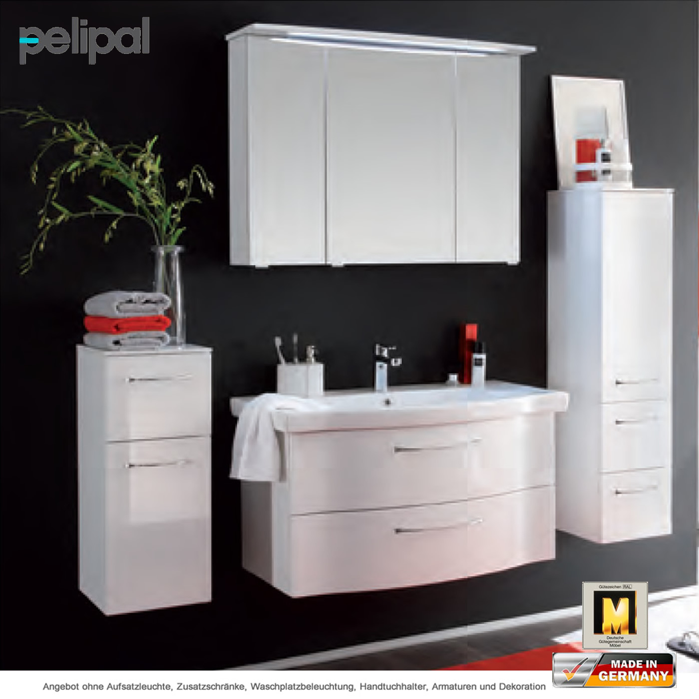 pelipal solitaire 6005 badm belset 90 cm mit led spiegelschrank und waschtischset mit 2 ausz gen. Black Bedroom Furniture Sets. Home Design Ideas