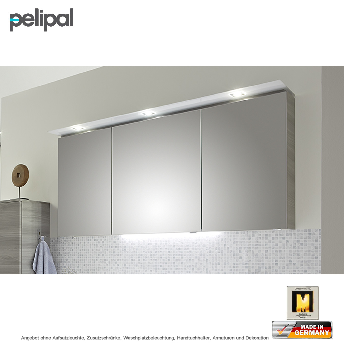 pelipal solitaire 7005 spiegelschrank mit led kranz 150 cm impulsbad. Black Bedroom Furniture Sets. Home Design Ideas