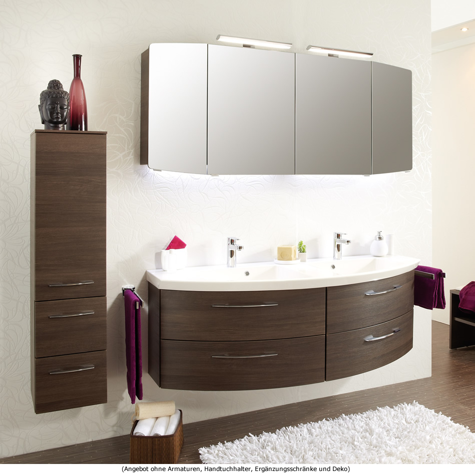 pelipal badm bel als set cassca mit doppelwaschtisch und led spiegelschrank 153 cm impulsbad. Black Bedroom Furniture Sets. Home Design Ideas