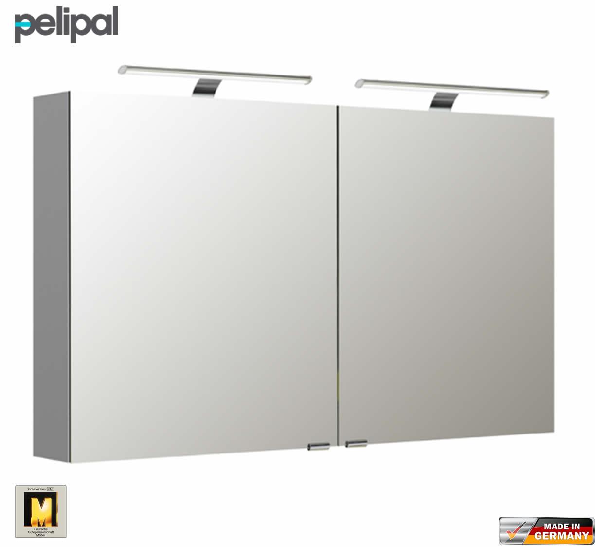 Pelipal neutraler Spiegelschrank S5 120 cm mit 2 LED Aufbauleuchten ...