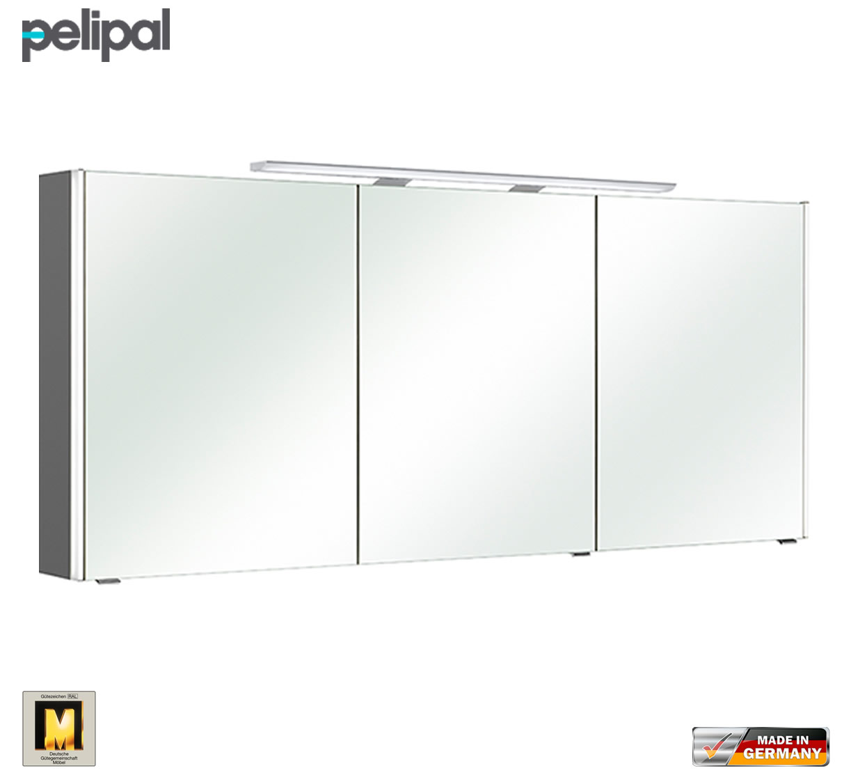 pelipal neutraler spiegelschrank s10 ledplus 167 cm mit led aufbauleuchte impulsbad. Black Bedroom Furniture Sets. Home Design Ideas