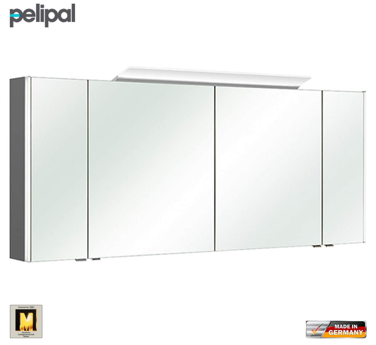 pelipal neutraler spiegelschrank s10 ledplus 172 cm mit led aufbauleuchte impulsbad. Black Bedroom Furniture Sets. Home Design Ideas