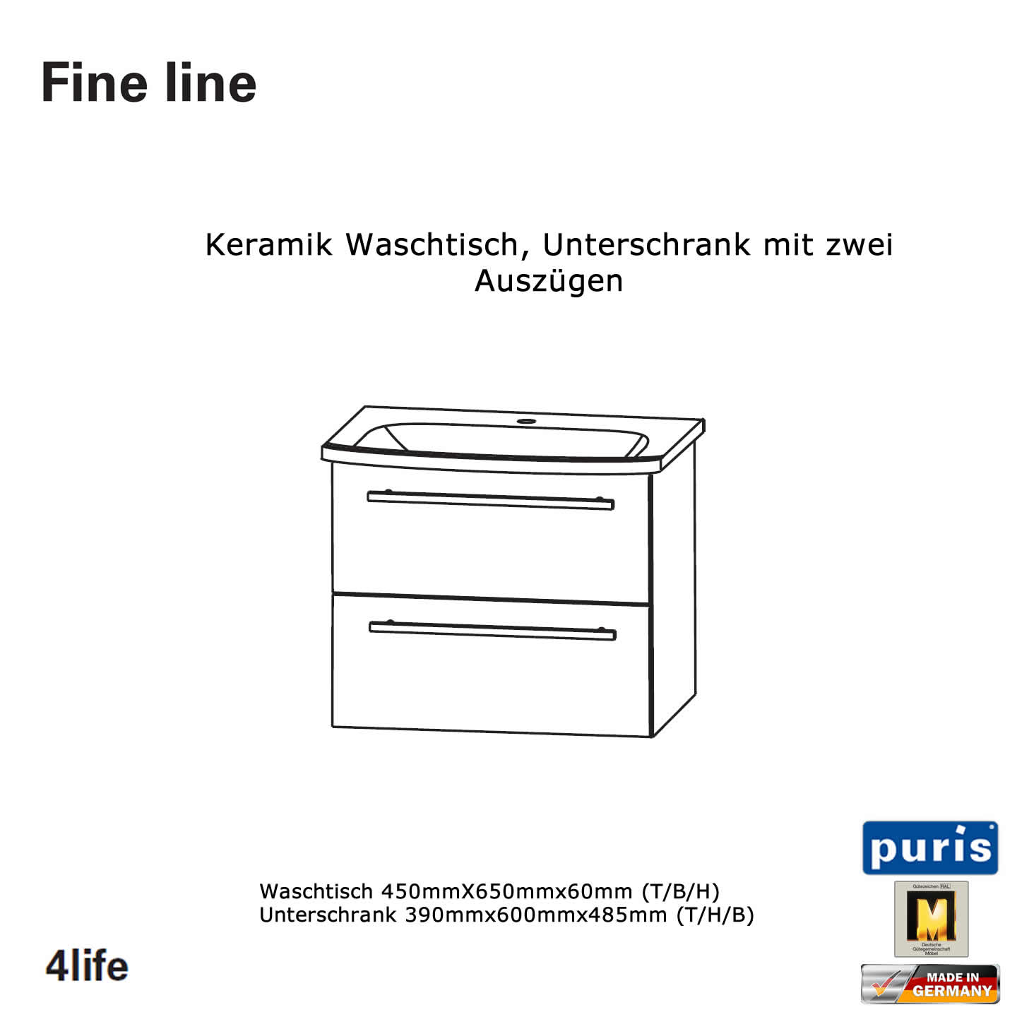 puris fine line keramik waschtisch set 60 cm impulsbad. Black Bedroom Furniture Sets. Home Design Ideas