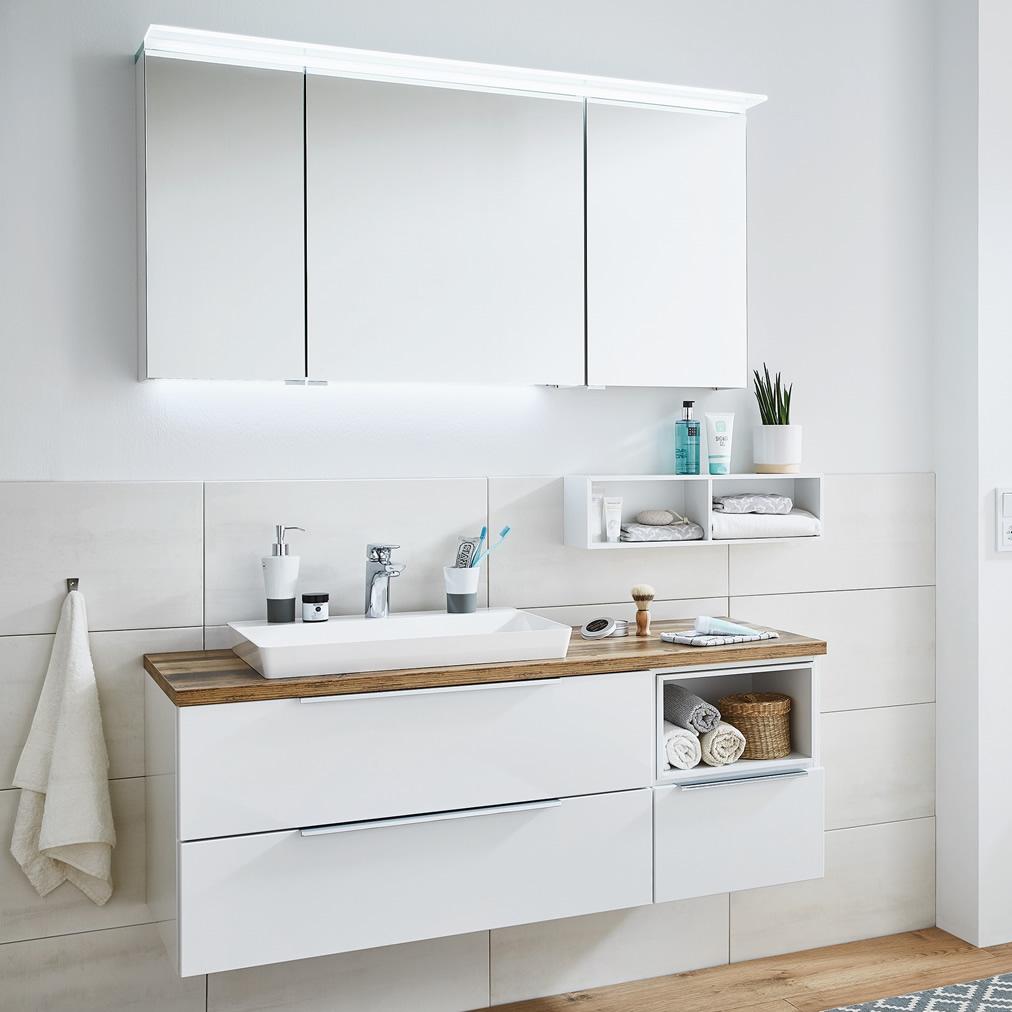 Puris aspekt badm bel set 130 cm mit spiegelschrank for Badmobel set mit spiegelschrank
