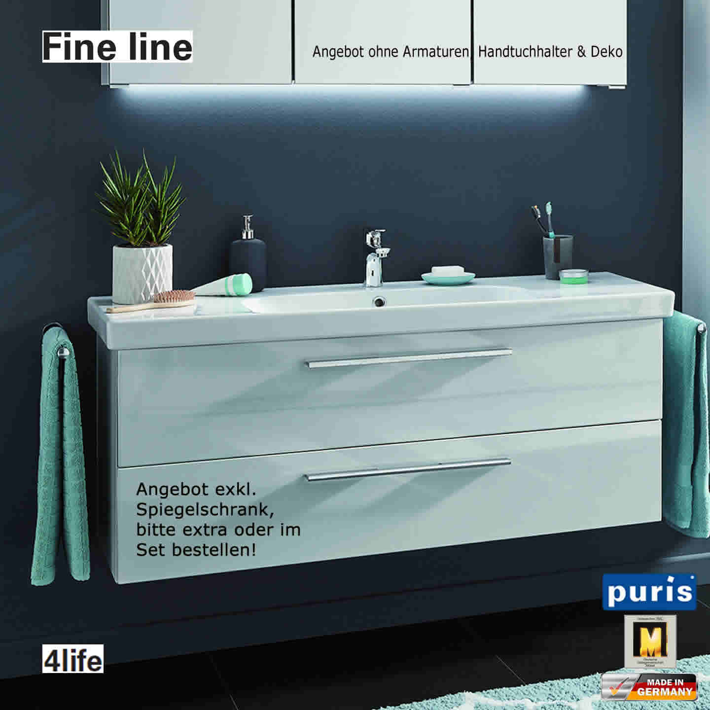 puris fine line waschtisch set 120 cm keramik impulsbad. Black Bedroom Furniture Sets. Home Design Ideas