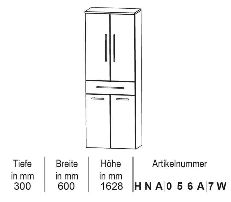 Puris Classic Line Hochschrank Mit Wäschekippe 60 Cm