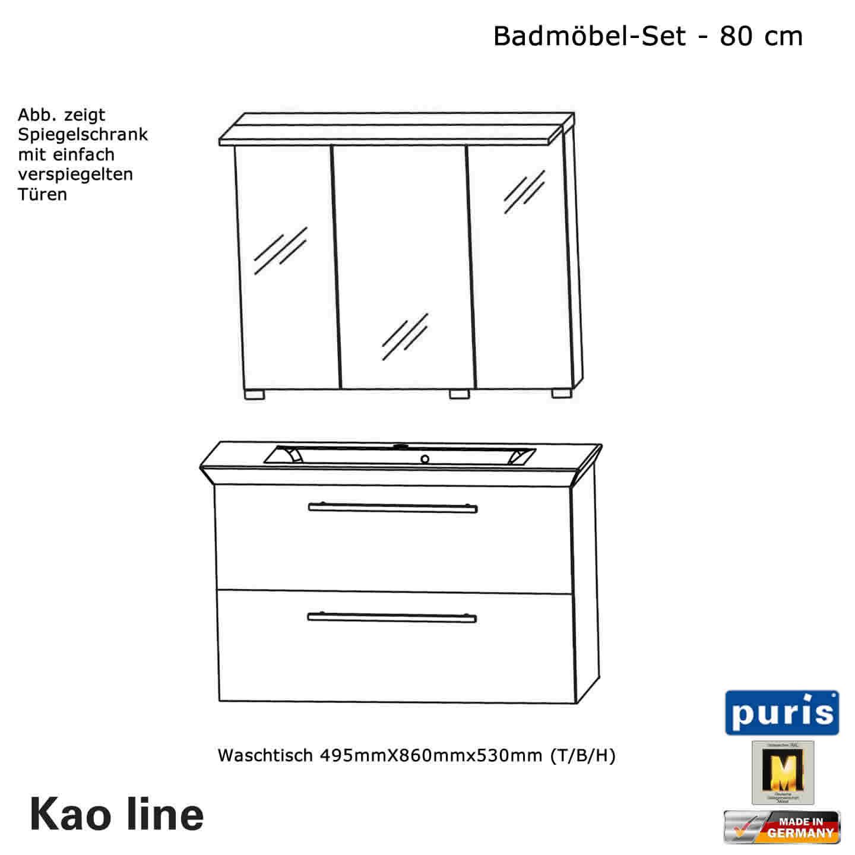 Puris Kao line Badmöbel Set 80 cm | Impulsbad