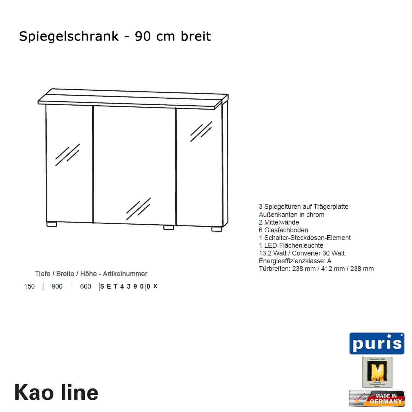 puris kao line spiegelschrank 90 cm impulsbad. Black Bedroom Furniture Sets. Home Design Ideas