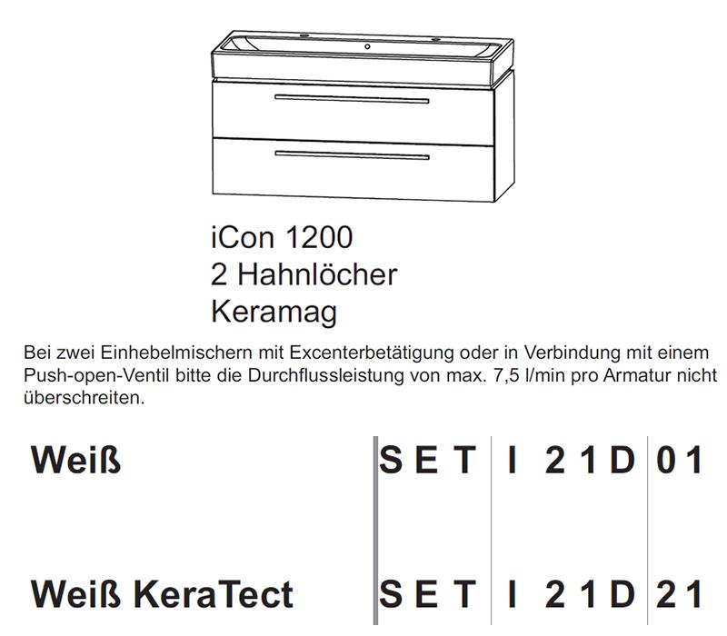 puris kera trends set waschtisch mit 2 hahnl chern. Black Bedroom Furniture Sets. Home Design Ideas