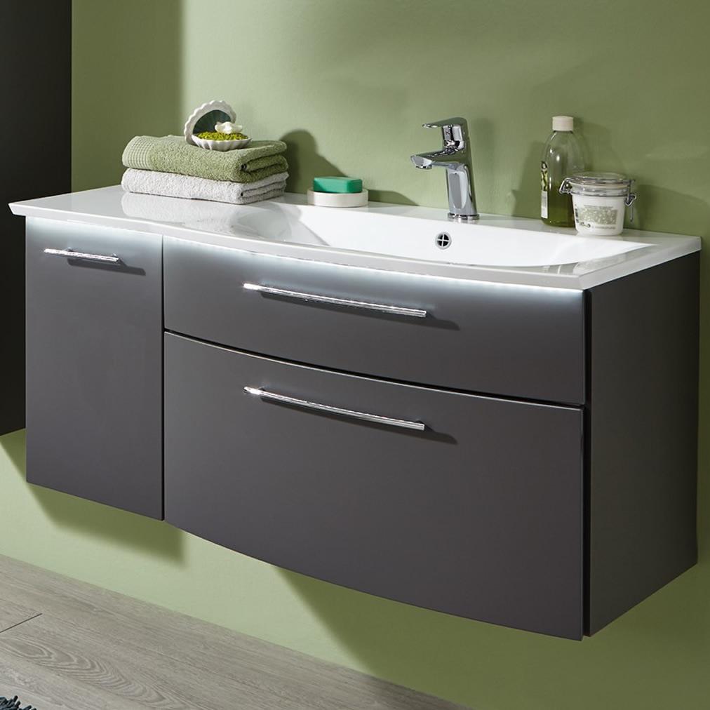 puris linea waschtisch set 100 cm mit 2 ausz gen und 1 t r und optionaler led beleuchtung. Black Bedroom Furniture Sets. Home Design Ideas