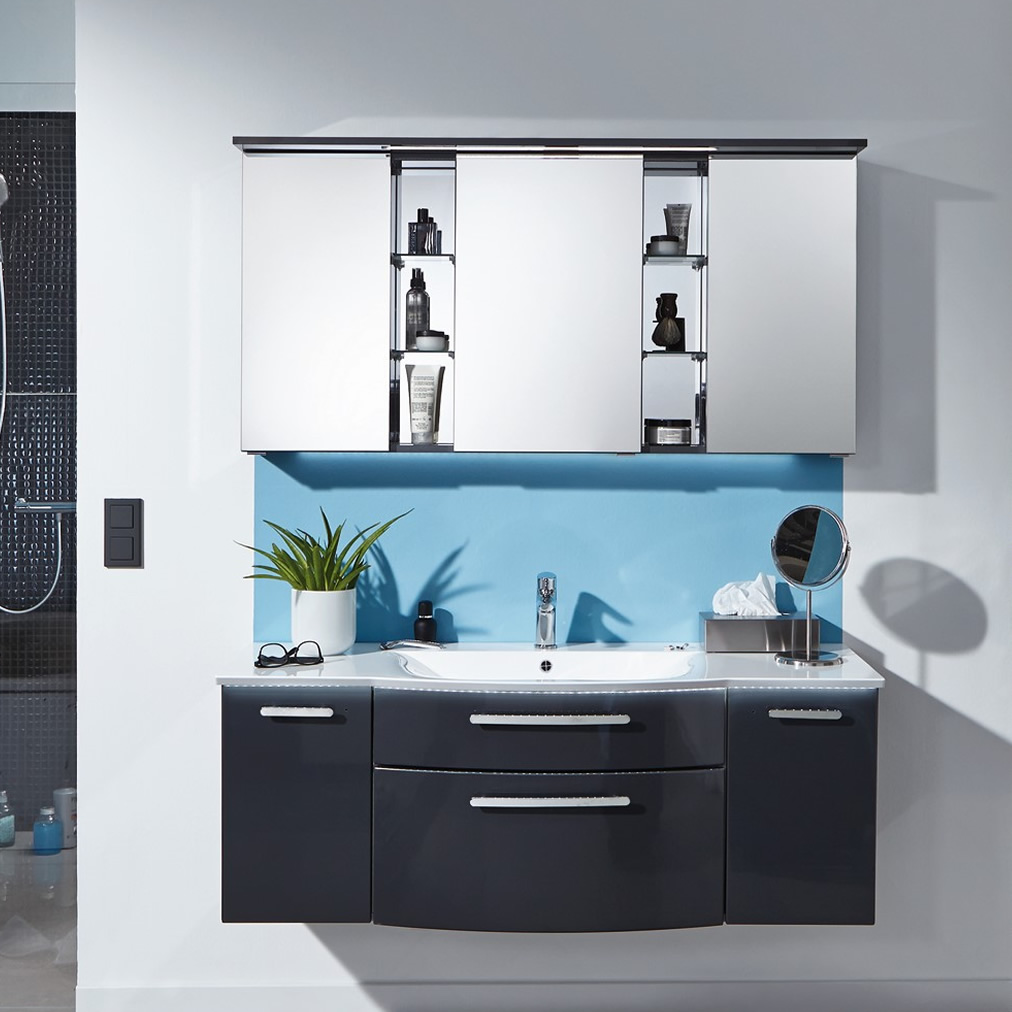 puris linea badm belset 130 cm mit regalen im spiegelschrank impulsbad. Black Bedroom Furniture Sets. Home Design Ideas
