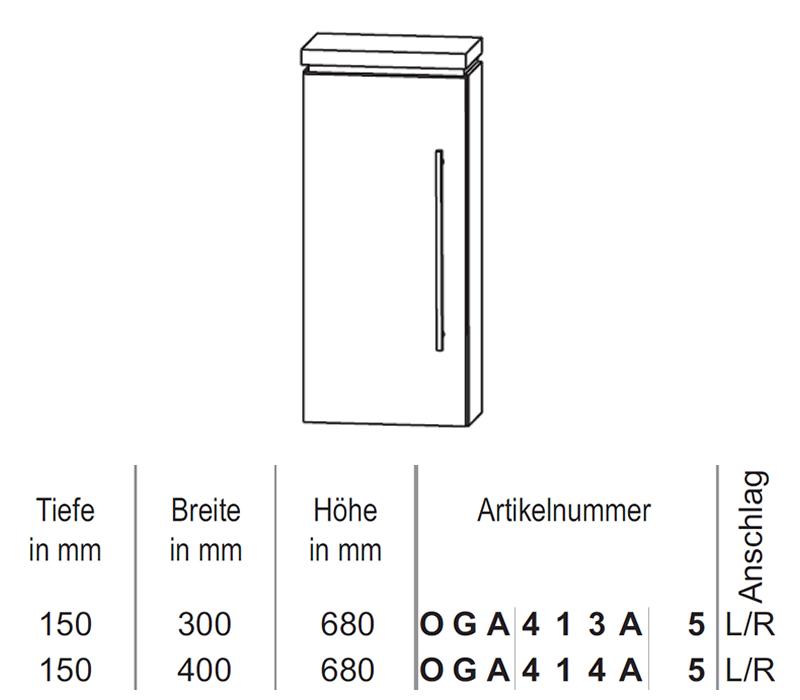 Puris Cool Line Oberschrank 30 Cm Impulsbad