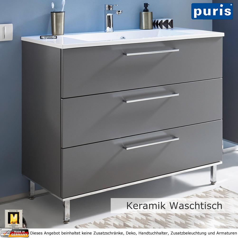 Puris QUADA Waschtisch-Set 100 cm mit Keramik-Waschtisch