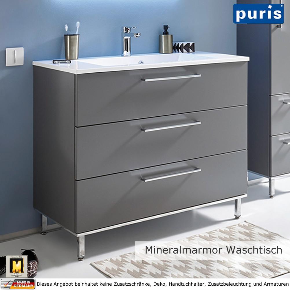 puris quada waschtisch set 100 cm mit mineralguss waschtisch impulsbad. Black Bedroom Furniture Sets. Home Design Ideas