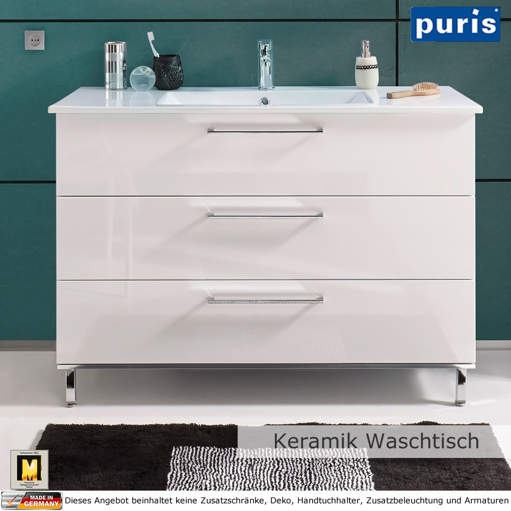 puris quada waschtisch set 120 cm mit keramik waschtisch impulsbad. Black Bedroom Furniture Sets. Home Design Ideas