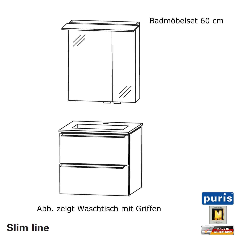 Puris Slim line Badmöbel Set 60 cm | Impulsbad