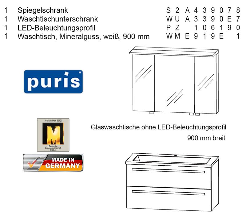 Puris Star Line Badmobel Als Set 90 Cm Mit Spiegelschrank Inkl Led