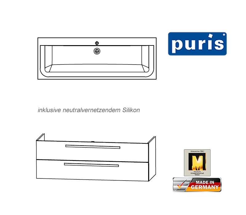 Puris Star Line Badmobel Als Waschtisch Set Mit Glaswaschtisch 140