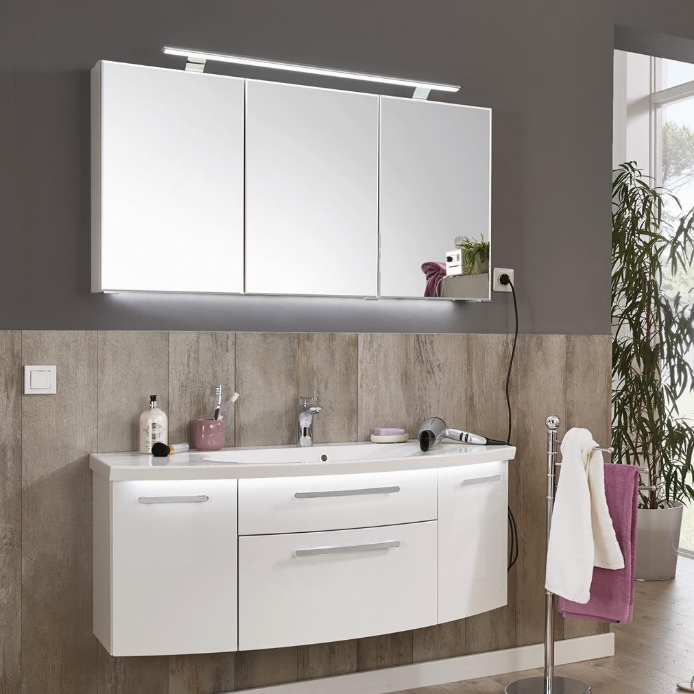 puris vuelta badm belset 120 cm mit led spiegelschrank. Black Bedroom Furniture Sets. Home Design Ideas