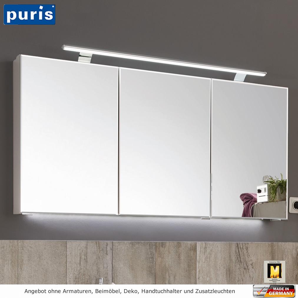 Puris vuelta spiegelschrank mit led aufbauleuchte 120 cm for Spiegelschrank mit led