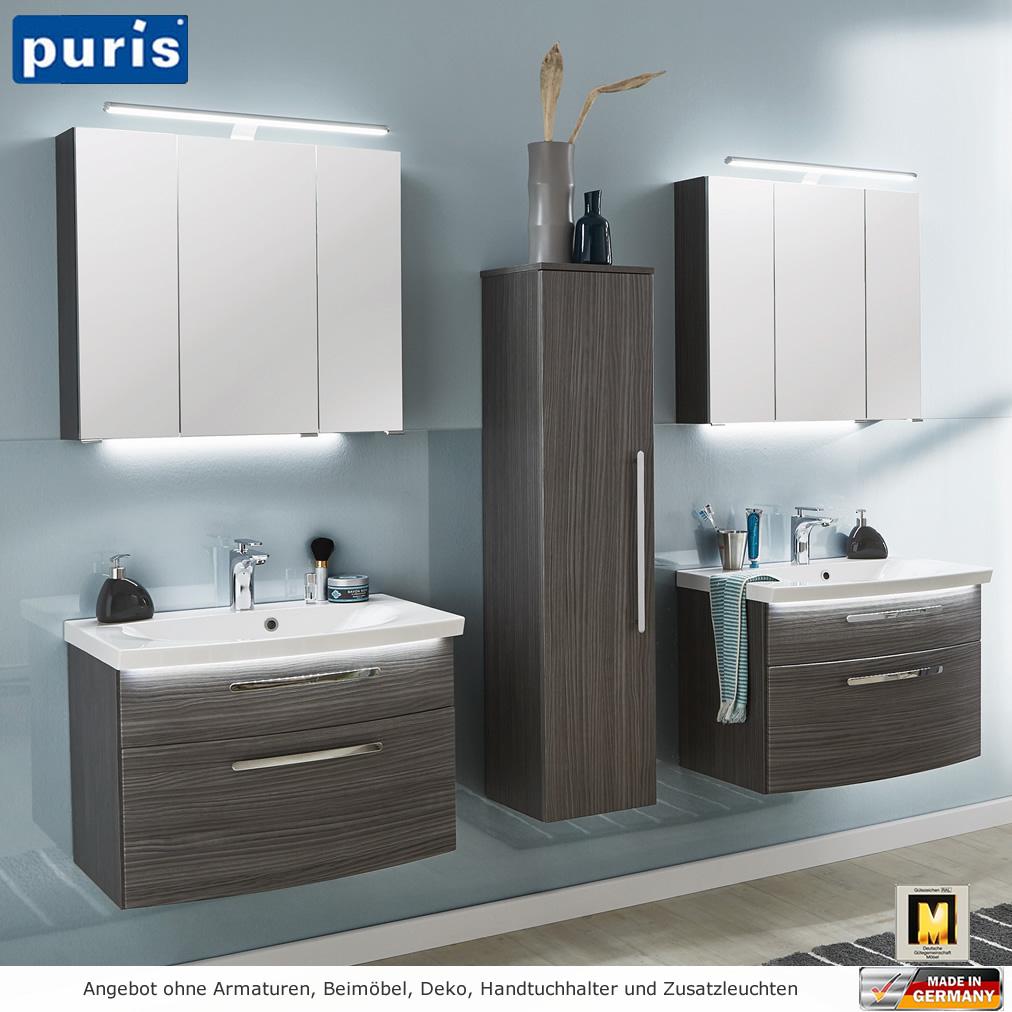 puris vuelta badm belset 70 cm mit led spiegelschrank inkl aufsatzleuchte impulsbad. Black Bedroom Furniture Sets. Home Design Ideas