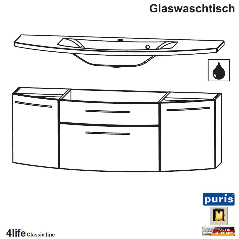 Puris Classic Line Badmobel Als Glas Waschtisch Set 140 Cm 2 Turen