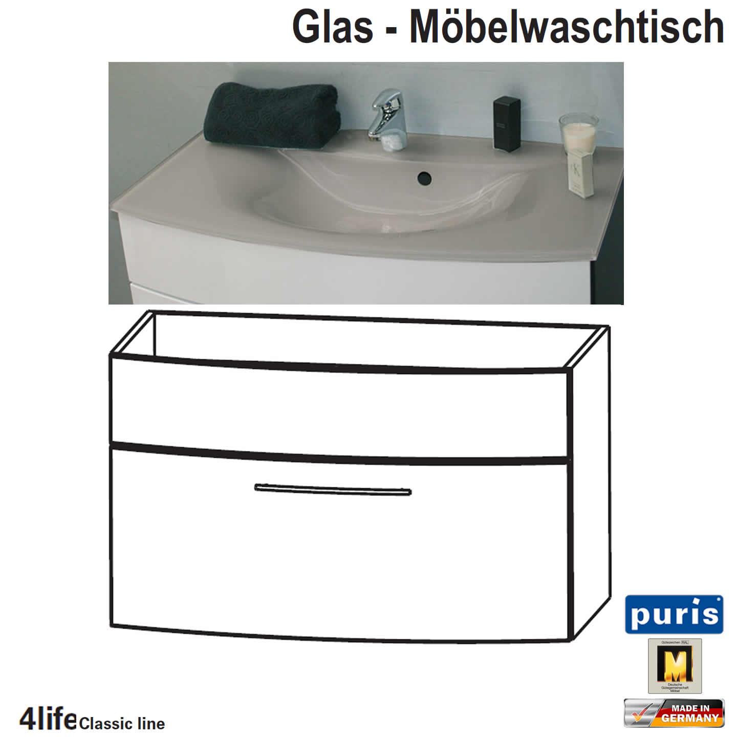 puris classic line badm bel als glas waschtisch set 70 cm 1 auszug impulsbad. Black Bedroom Furniture Sets. Home Design Ideas