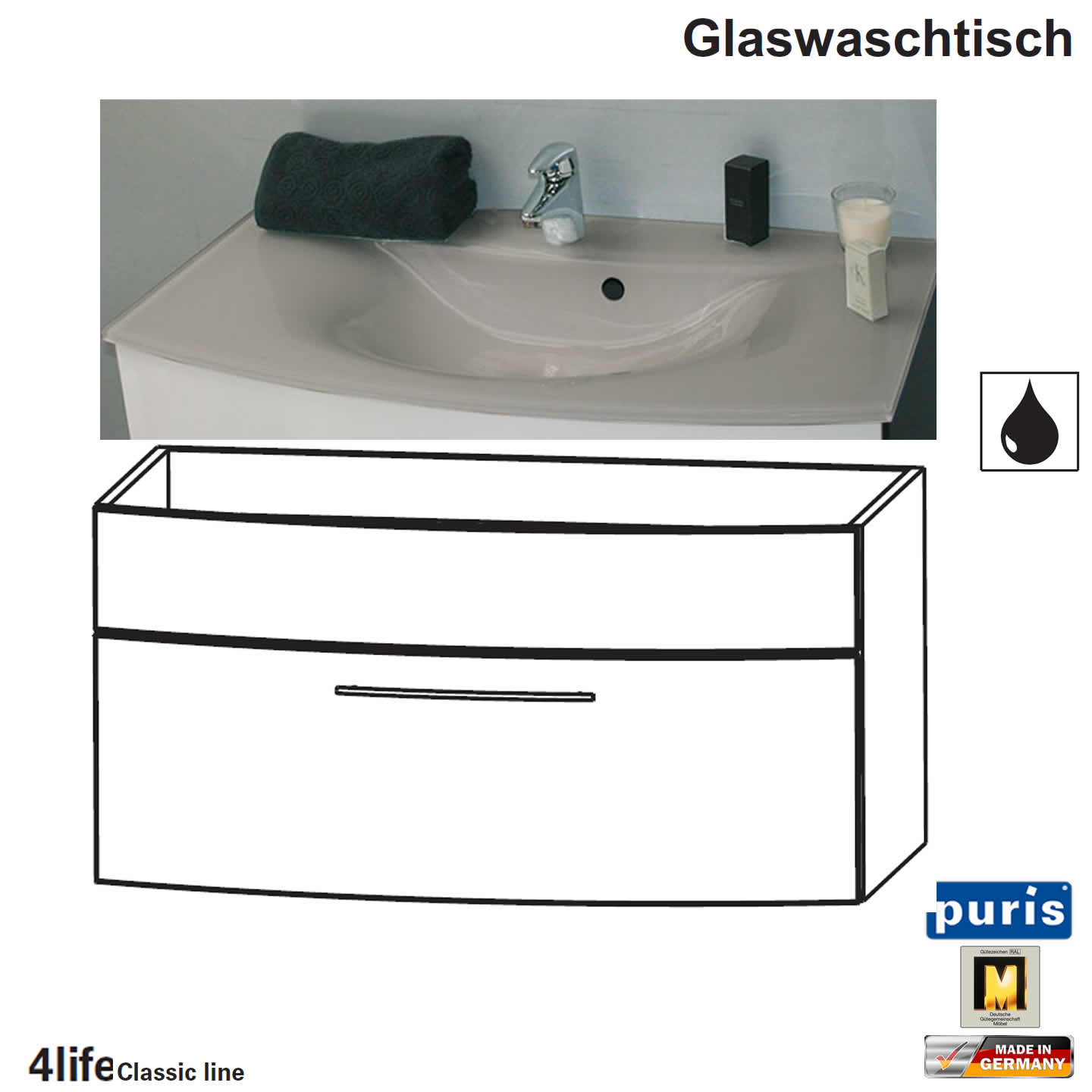 puris classic line badm bel als glas waschtisch set 90 cm 1 auszug impulsbad. Black Bedroom Furniture Sets. Home Design Ideas
