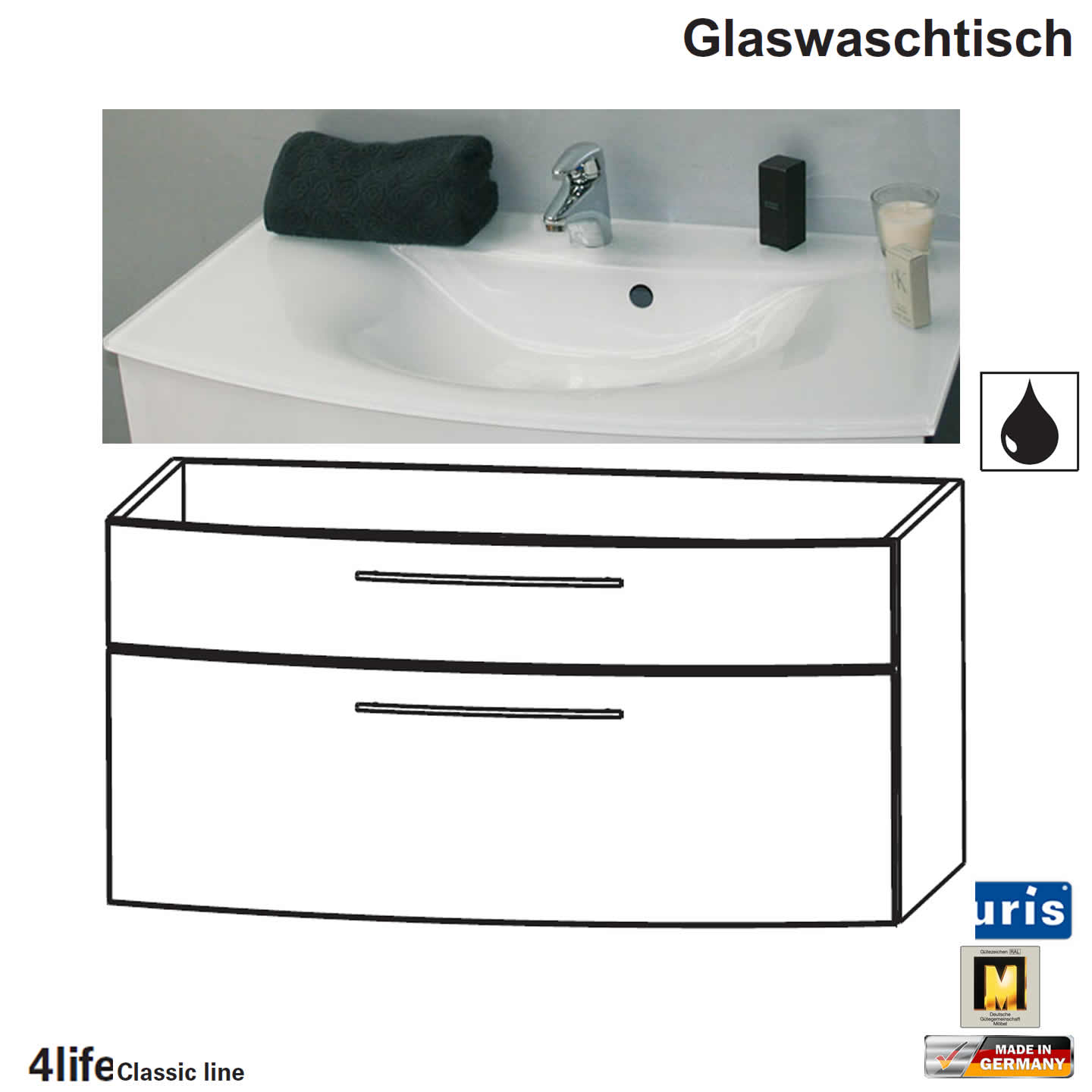 puris classic line badm bel als glas waschtisch set 90 cm 2 ausz ge impulsbad. Black Bedroom Furniture Sets. Home Design Ideas