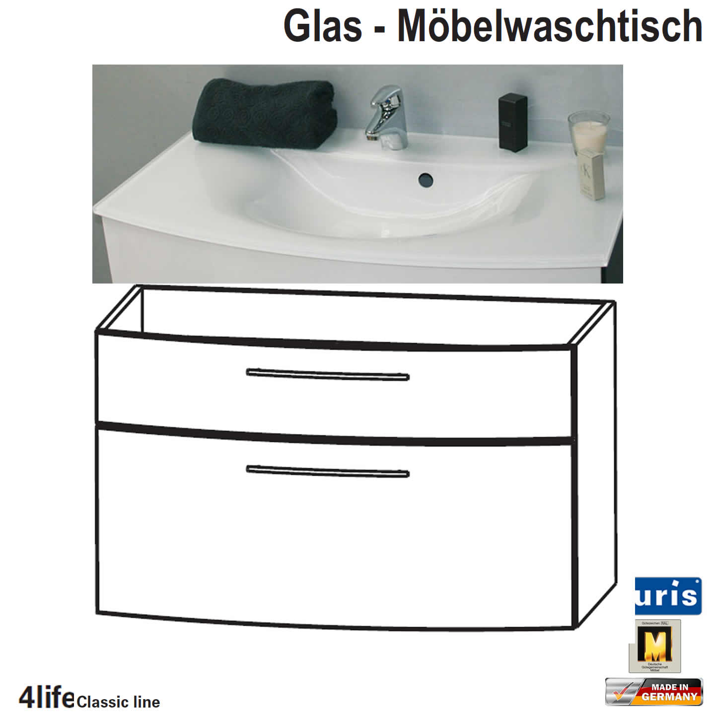 puris classic line badm bel als glas waschtisch set 70 cm 2 ausz ge impulsbad. Black Bedroom Furniture Sets. Home Design Ideas