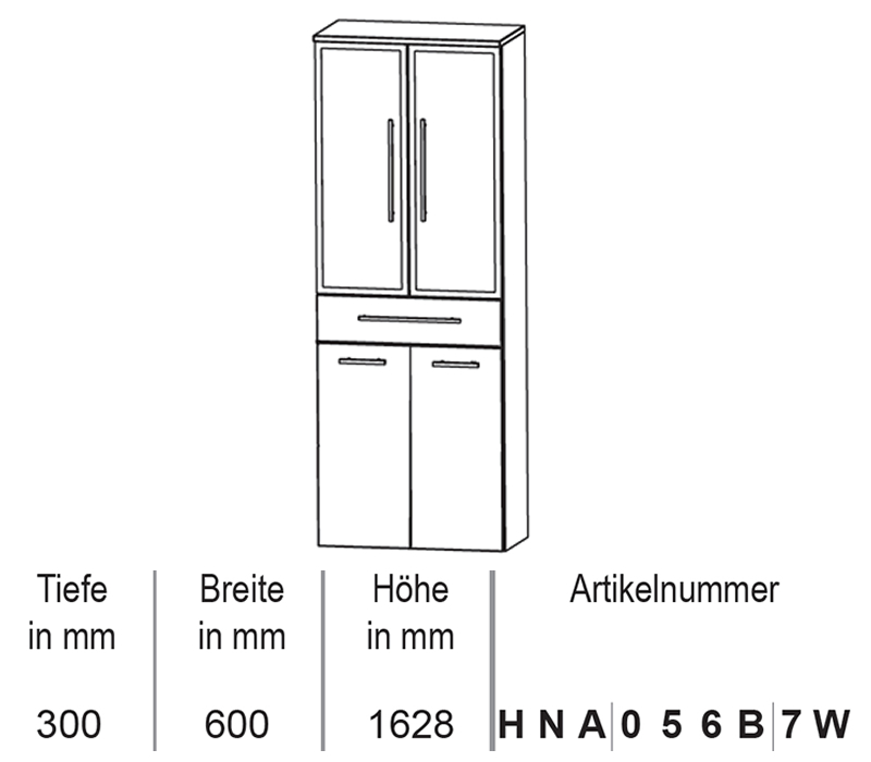 puris crescendo hochschrank mit w schekippe 60 cm impulsbad. Black Bedroom Furniture Sets. Home Design Ideas