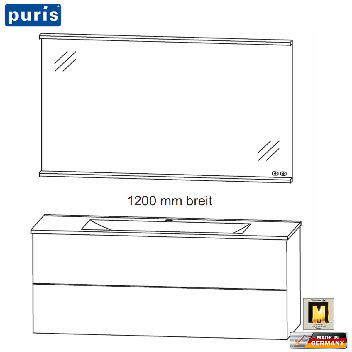 Puris ICE LINE Badmöbel Set 120 cm - Flächenspiegel mit Heizung und ...