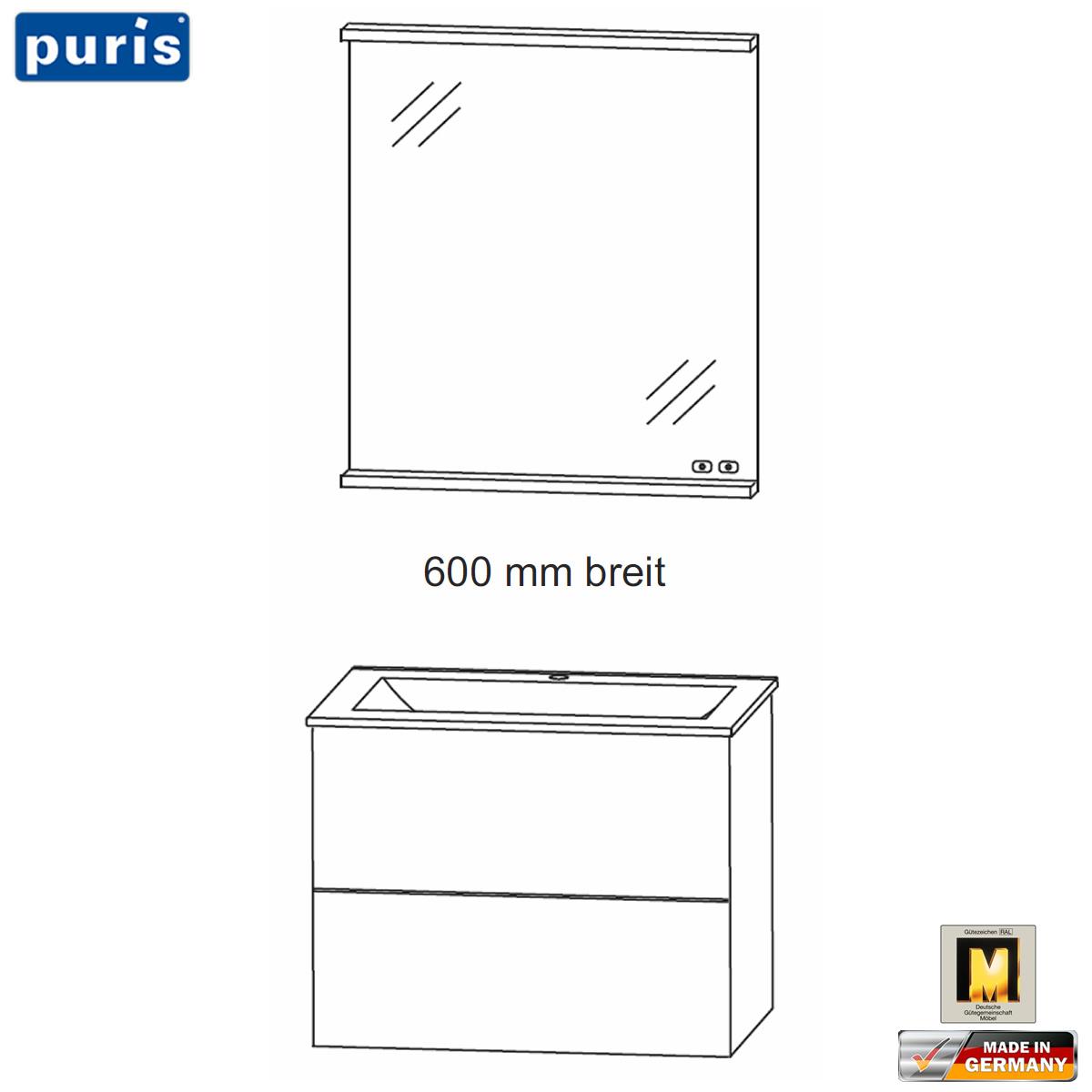 Puris ICE LINE Badmöbel Set 60 cm - Flächenspiegel mit Heizung und ...