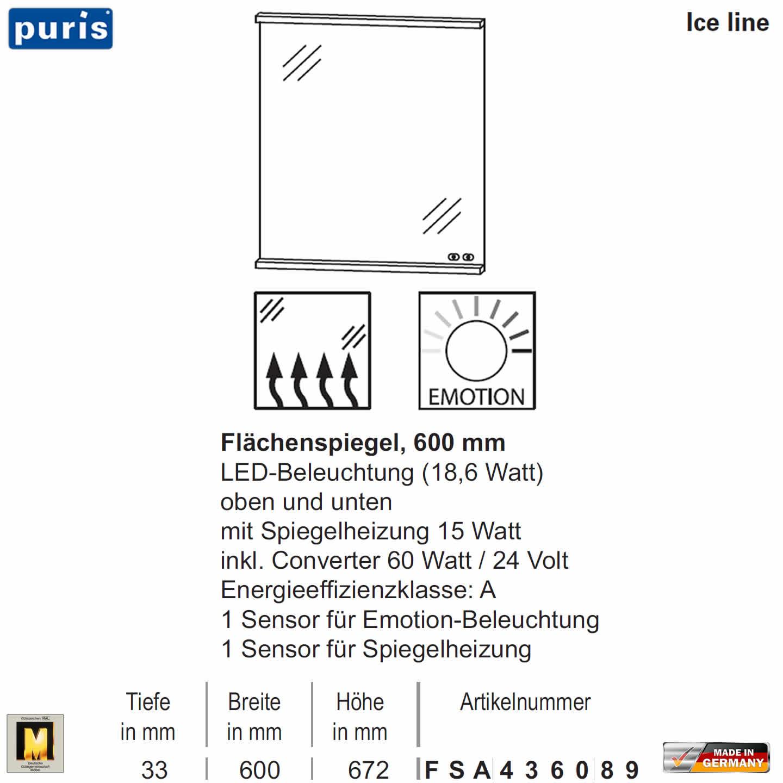 Puris ICE LINE Flächenspiegel 60 cm mit Spiegelheizung und Emotion ...