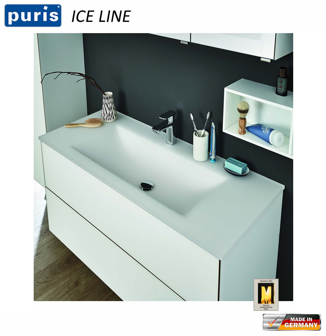 puris ice line waschtisch set 90 cm mit glas waschtisch. Black Bedroom Furniture Sets. Home Design Ideas