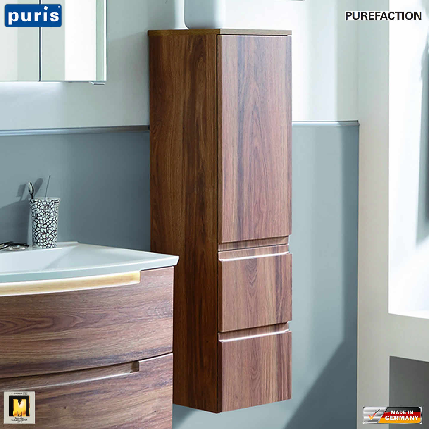 puris purefaction mittelschrank 1 t r 2 ausz ge 30 cm breite impulsbad. Black Bedroom Furniture Sets. Home Design Ideas