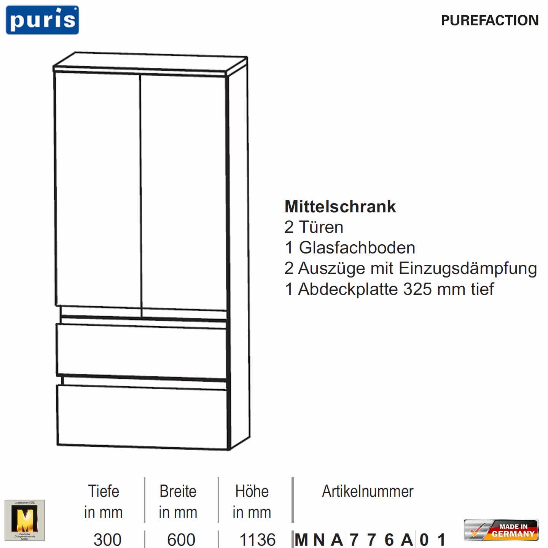 Häufig Puris Purefaction Mittelschrank - 2 Türen + 2 Auszüge - 60 cm KM82