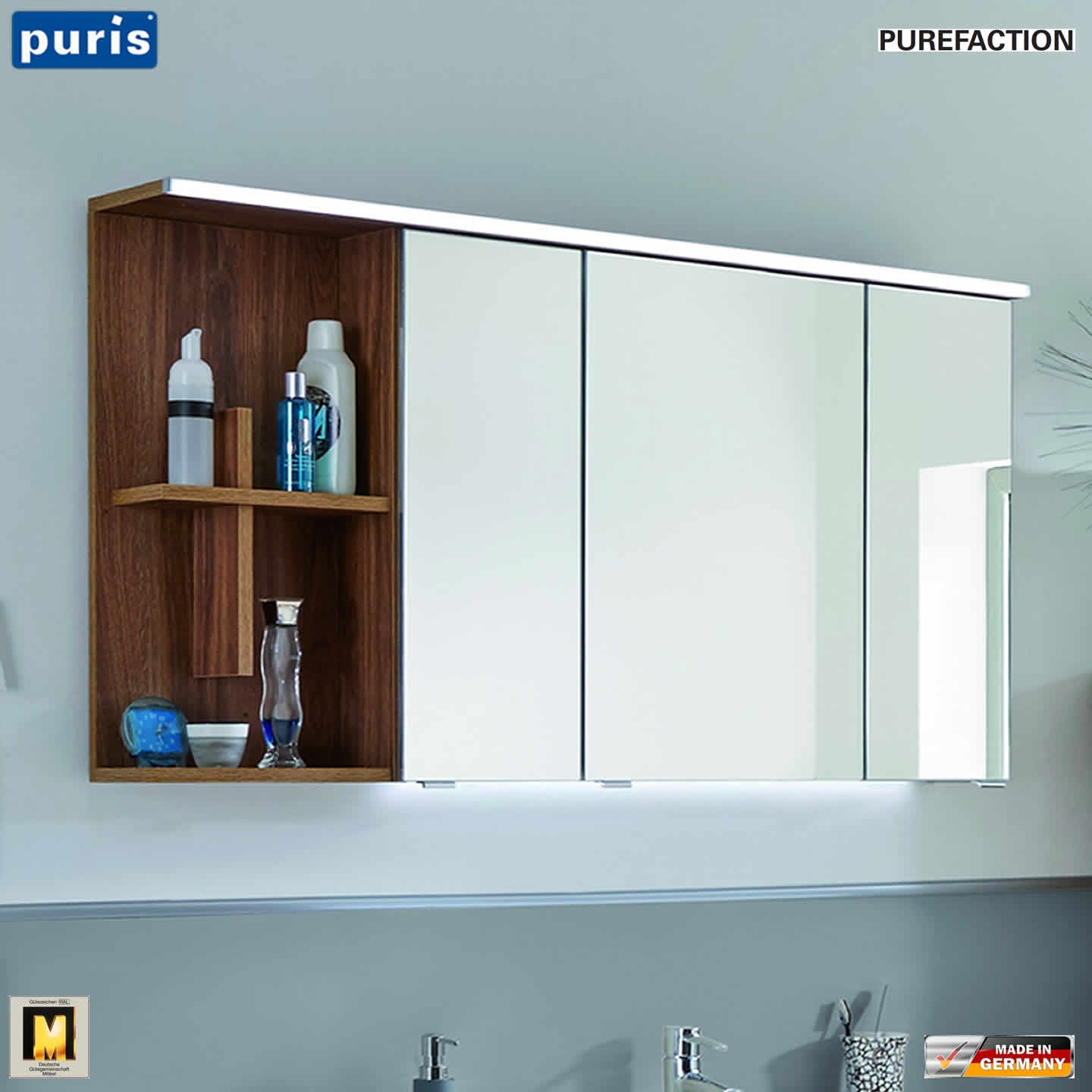 puris purefaction led spiegelschrank 120 cm regal mit. Black Bedroom Furniture Sets. Home Design Ideas