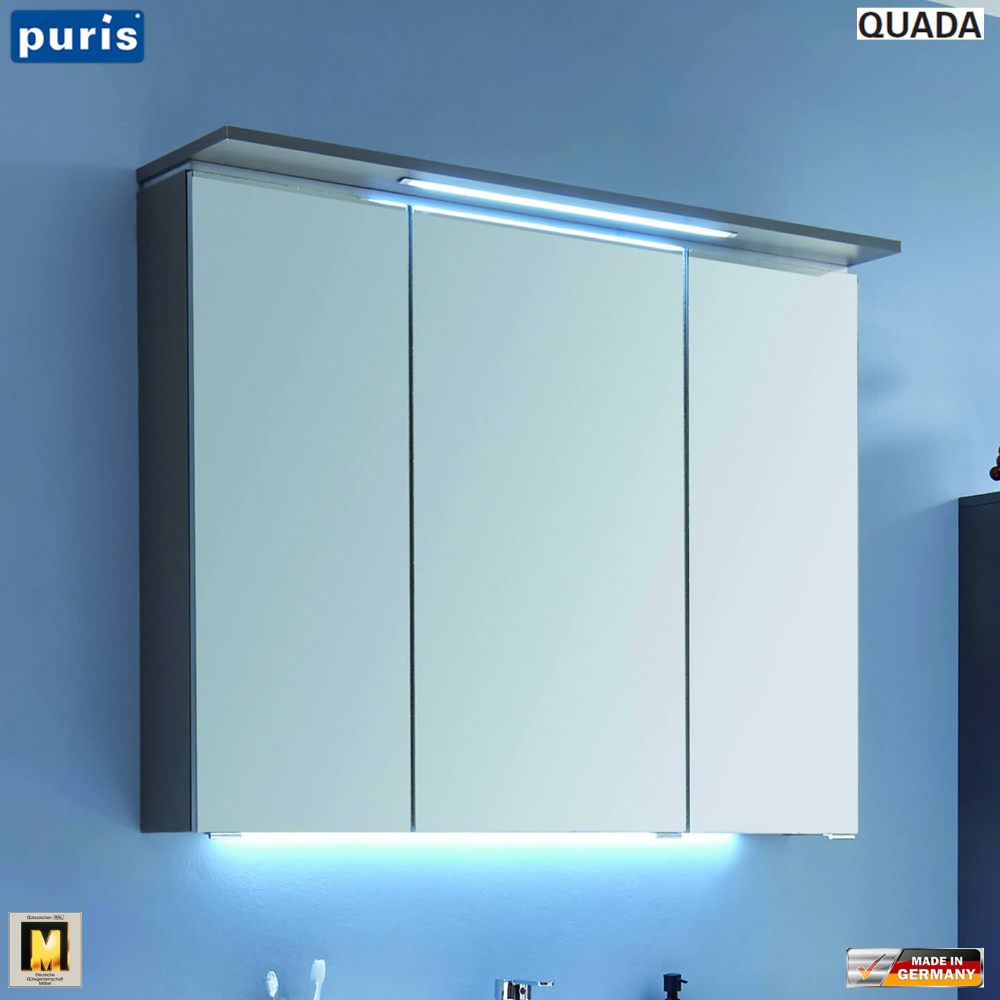 puris quada spiegelschrank 100 cm mit led im oberboden. Black Bedroom Furniture Sets. Home Design Ideas