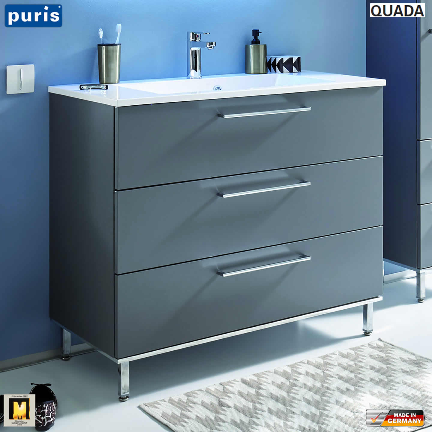 puris quada waschtisch set 100 cm mit mineralguss waschtisch impulsbad. Black Bedroom Furniture Sets. Home Design Ideas
