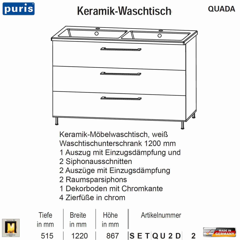 puris quada waschtisch set 120 cm mit keramik doppel waschtisch impulsbad. Black Bedroom Furniture Sets. Home Design Ideas