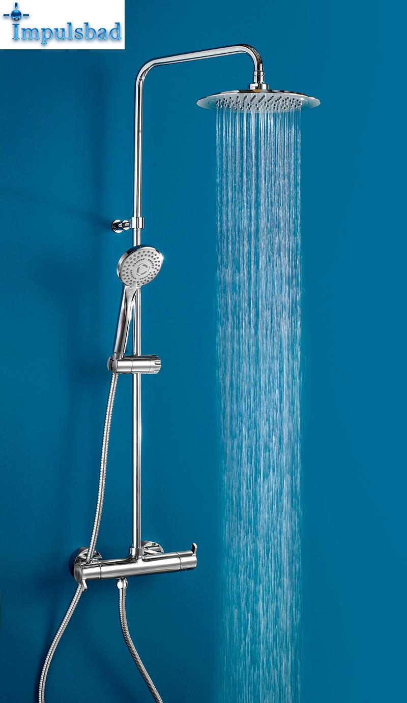 Ramon Soler Duschsystem mit Thermostat 20 cm Kopfbrause   Impulsbad