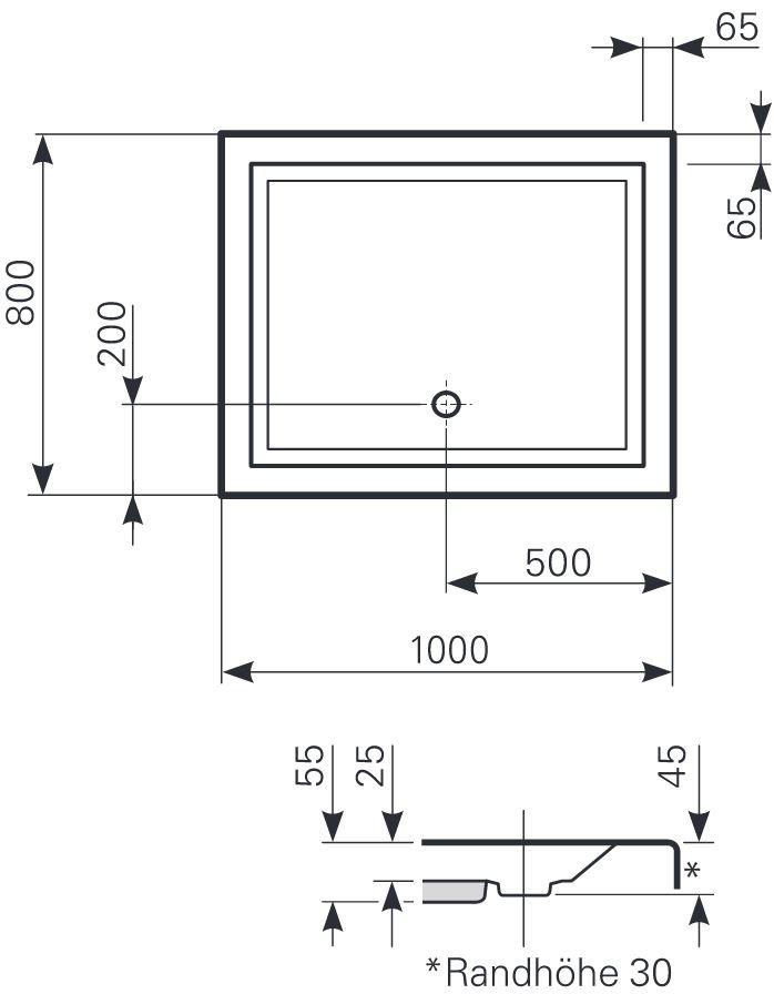 mauersberger duschwanne litop 100 x 80 cm superflach. Black Bedroom Furniture Sets. Home Design Ideas