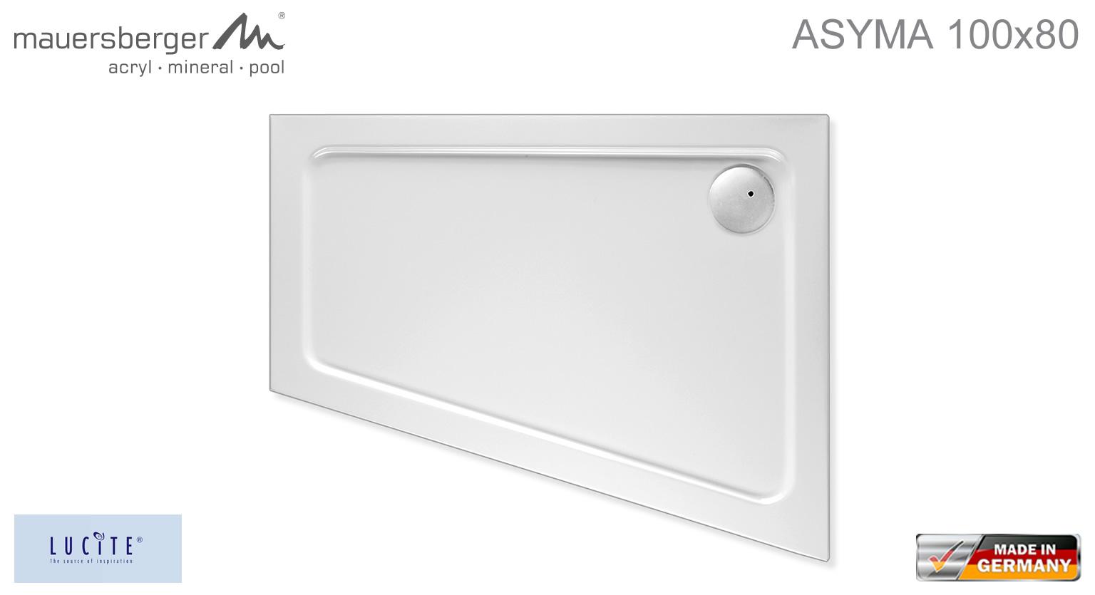 mauersberger duschwanne asyma 100 x 80 cm superflach links impulsbad. Black Bedroom Furniture Sets. Home Design Ideas