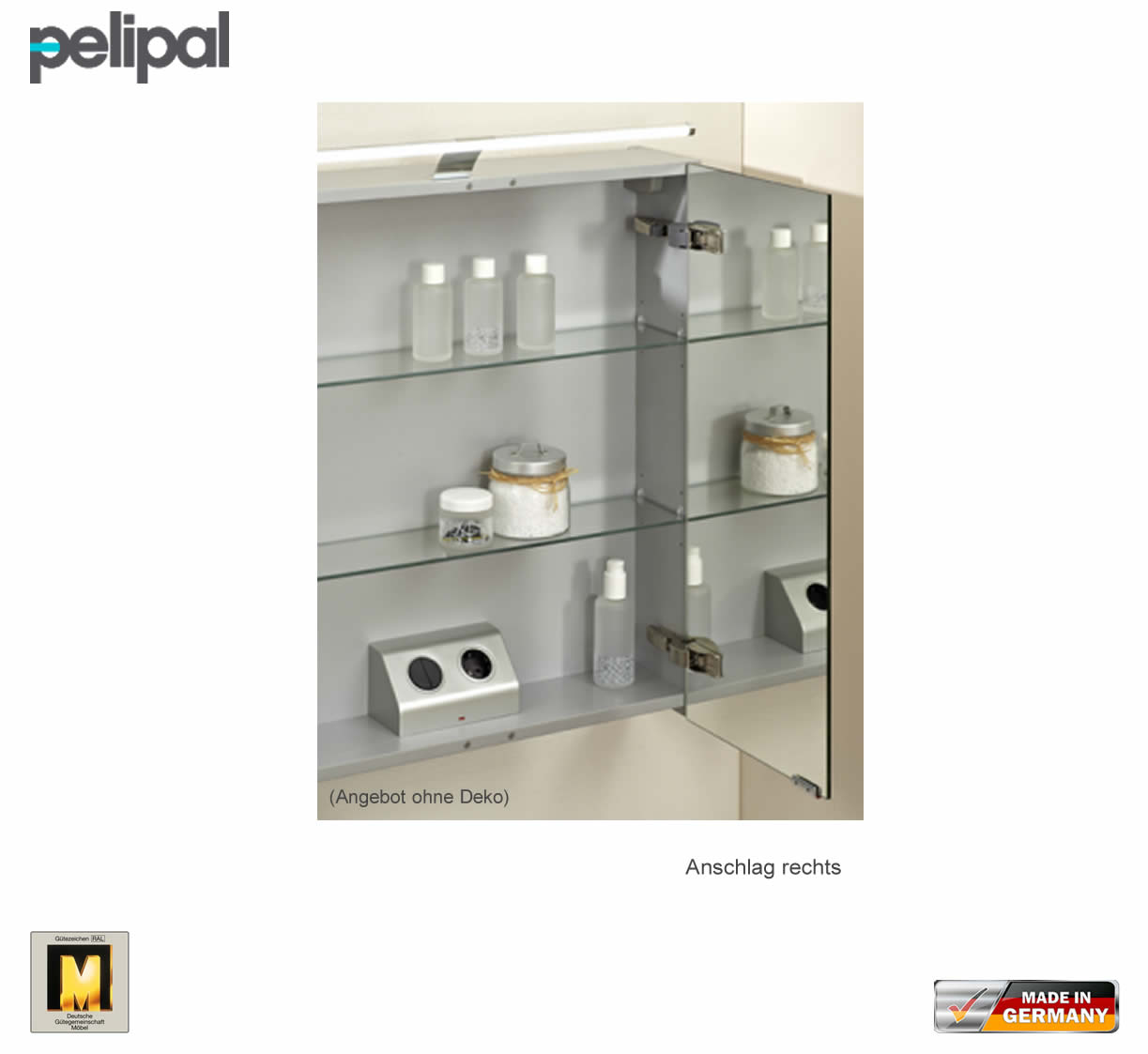 pelipal neutraler spiegelschrank s5 60 cm mit led aufbauleuchte impulsbad. Black Bedroom Furniture Sets. Home Design Ideas