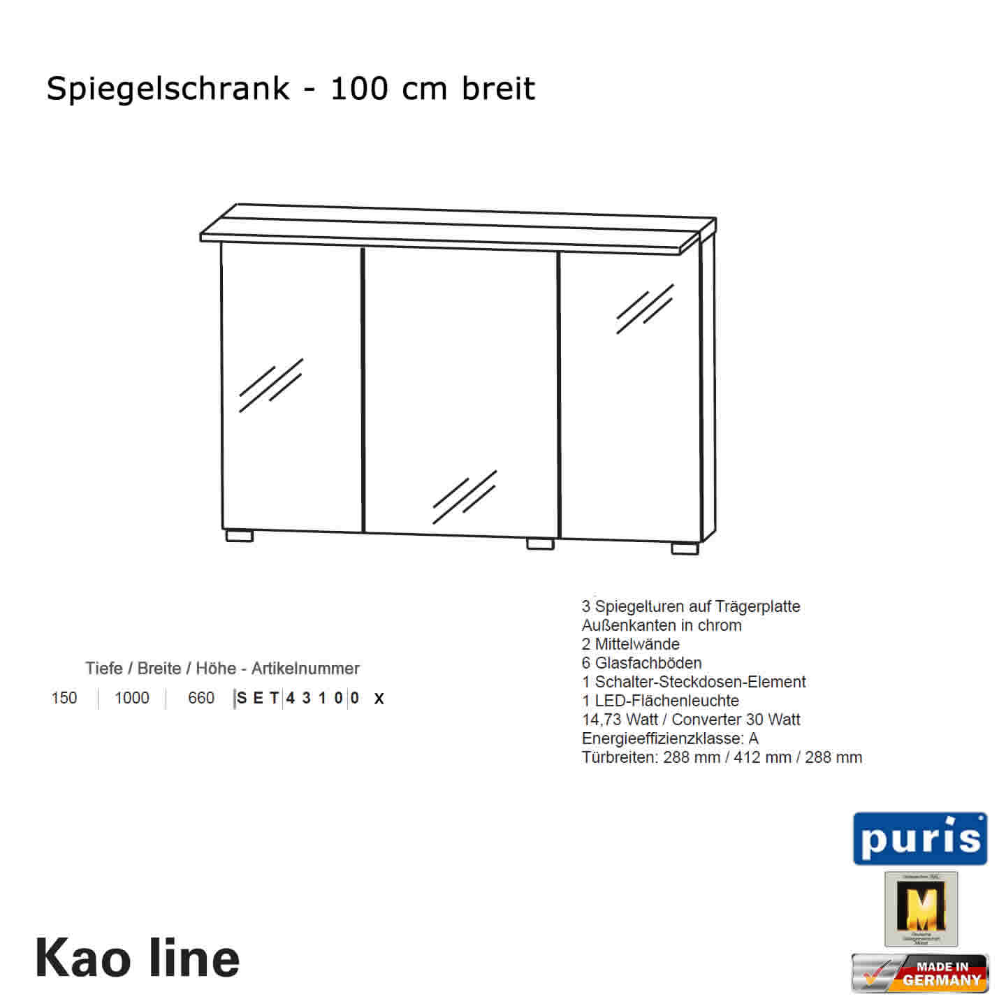 puris kao line spiegelschrank 100 cm impulsbad. Black Bedroom Furniture Sets. Home Design Ideas
