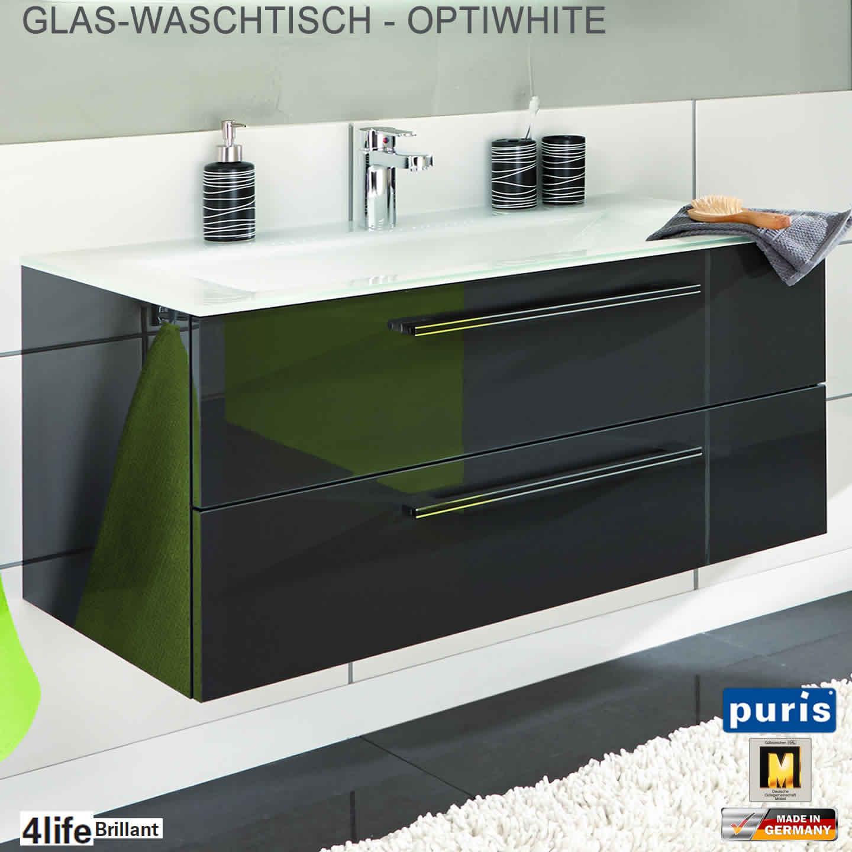 puris brillant badm bel als waschtisch set mit glas waschtisch 120 cm impulsbad. Black Bedroom Furniture Sets. Home Design Ideas
