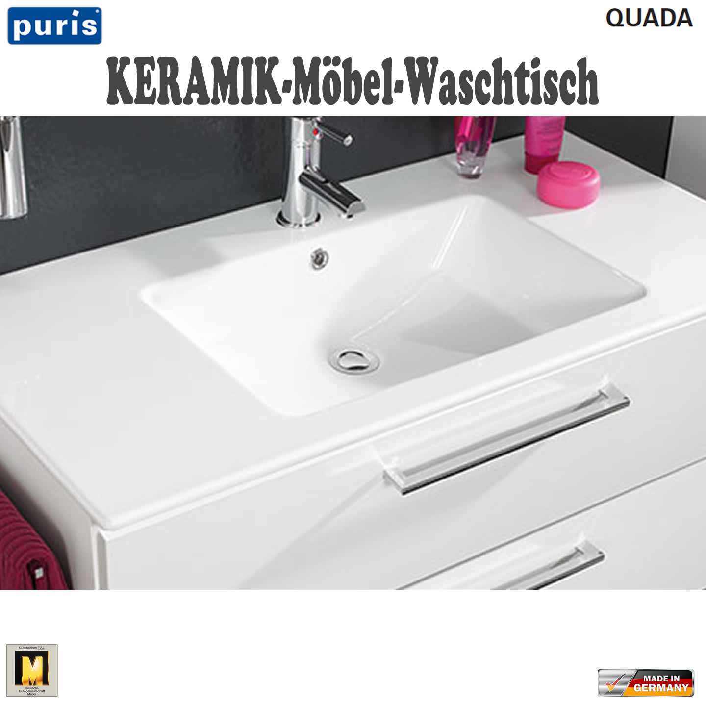 puris quada waschtisch set 120 cm mit keramik doppel waschtisch impulsbad. Black Bedroom Furniture Sets. Home Design Ideas