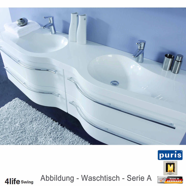 puris 4life swing badmöbel als doppel-waschtisch-set 180 cm, Badezimmer ideen